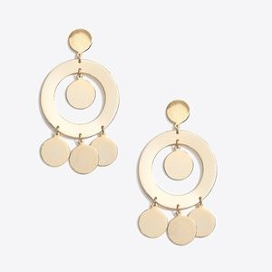 J.Crew Gold Circle Statement Earrings - New!